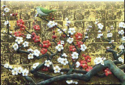画像1: 和風カード うぐいすに紅白の梅
